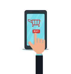 Mobile shopping app business concept hand finger vector