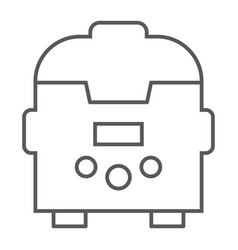 Multicooker thin line icon kitchen and household vector