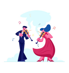 Musicians with instruments perform on stage with vector