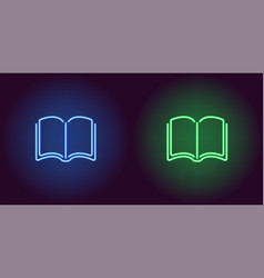 neon icon of blue and green book vector image