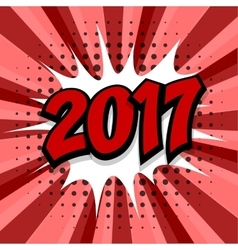 New year 2017 red background vector image