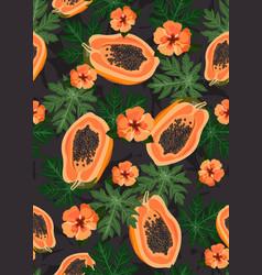 papaya fruits seamless pattern on black vector image