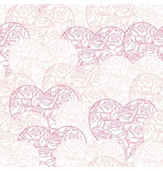Pink hearts background on white Seamless pattern vector image