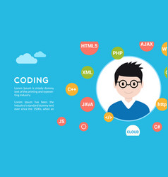 Programmer flat design graphic vector