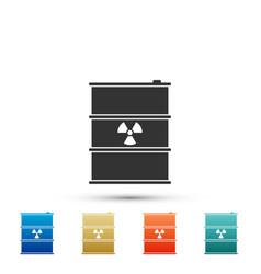 Radioactive waste in barrel icon isolated vector