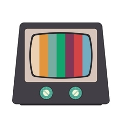 Retro classic tv and colored stripes on screen vector