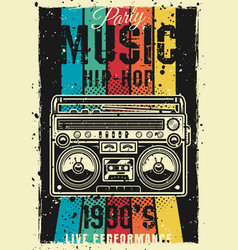retro party 90s colored poster with boombox vector image