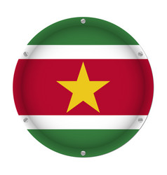 Round metallic flag of suriname with screws vector