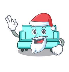 Santa sofa mascot cartoon style vector