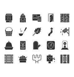 sauna equipment black silhouette icons set vector image