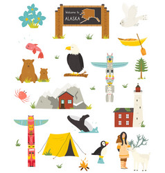 set alaska colorful symbols landmarks animals vector image