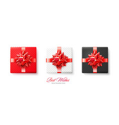 set gifts boxes with silver red bows and vector image