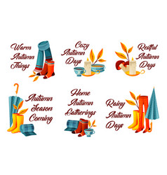 set of autumn or fall decorative phrases vector image