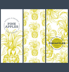 set tree pineapple banner templates hand drawn vector image
