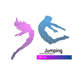 silhouette of a jumping man and girl from triangle vector image