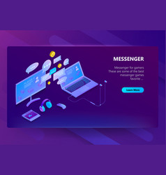 site template for messenger online chat vector image