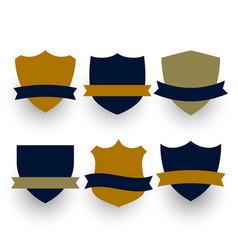 Six shield or badges symbols with ribbons set vector