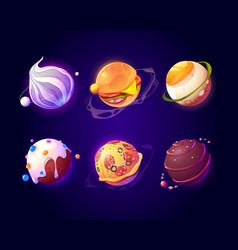 space with food planets pizza and candy texture vector image