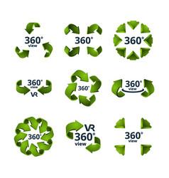 symbols virtual reality 360 degrees 3d rotate vector image