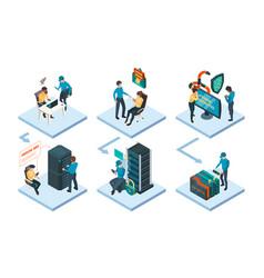 sysadmin helping digital data network worker safe vector image
