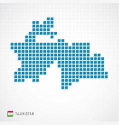 Tajikistan map and flag icon vector