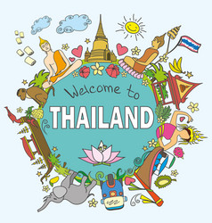 Thailand set thai color icons and symbols ill vector