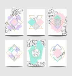trendy brochure templates with flat geometry vector image