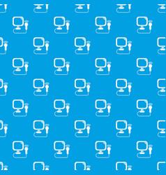 Ultrasound pattern seamless blue vector