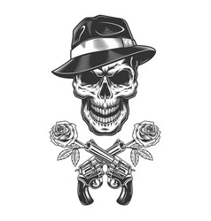 vintage monochrome gangster skull vector image
