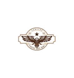 Vintage retro eagle hawk falcon bird badge emblem vector