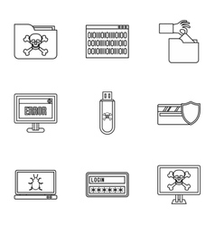 Viruses icons set outline style vector