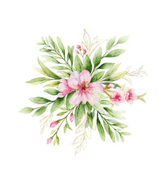 Watercolor bouquet pink flowers and vector
