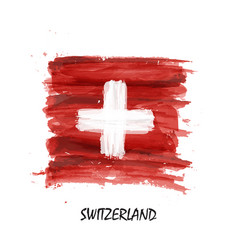 watercolor painting flag of switzerland vector image