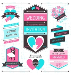 Wedding invitation retro set of design elements vector