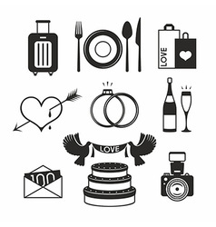 Wedding set icon vector image