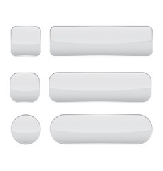 White glass buttons web 3d shiny icons set vector