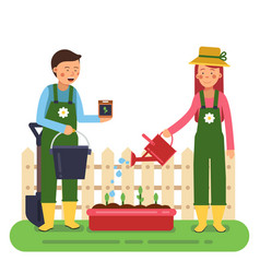 woman and man working in garden different tools vector image