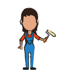 woman holding paint roller avatar icon image vector image