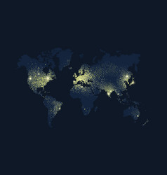 World map earth planet lights at night vector