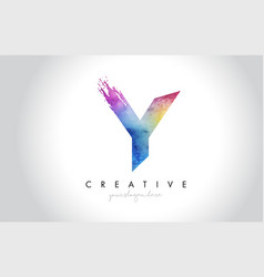 y paintbrush letter design with watercolor brush vector image