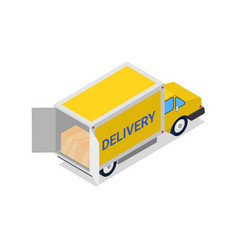 yellow delivery truck isometric 3d icon vector image