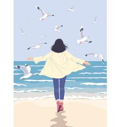 Young woman enjoy sea coast vector