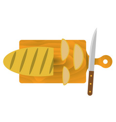 bread on the cutting board vector image