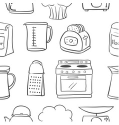 Hand draw kitchen object doodle style vector