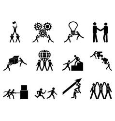 teamwork icons set vector image vector image