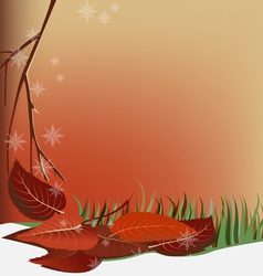 autumn snow and leaves vector image vector image