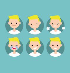 blonde pale man profile pics set of flat vector image vector image