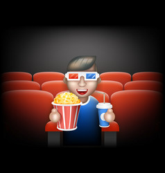 cinema pall 3d glasses big popcorn soda water male vector image vector image