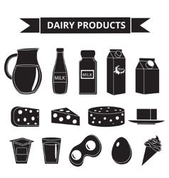 Dairy products icon set silhouette style milk vector