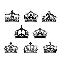King and queen heraldic crowns set vector image